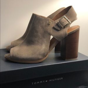 Tommy Hilfiger twpeppy taupe suede high heel shoes